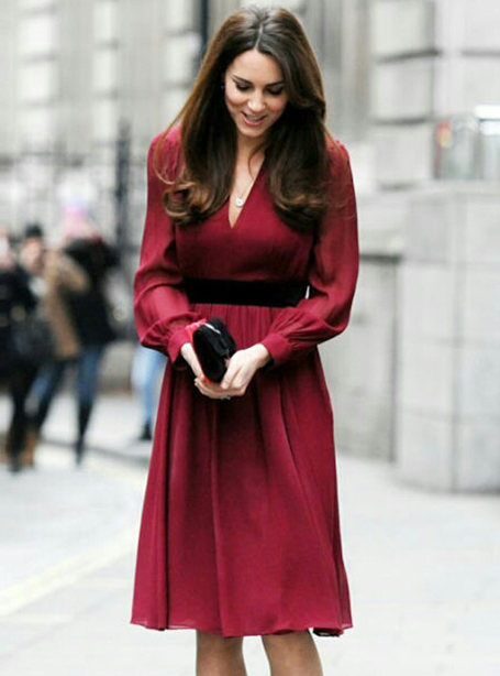Red Women Princess Dress Sexy V-Neck Kate Middleton Dresses WF008B1(China (Mainland))