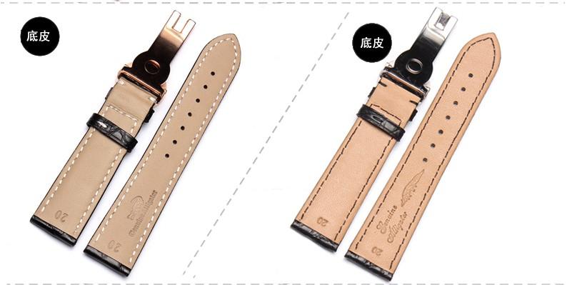 Смотреть аксессуары заменить P мужчины и женщины кожаные ремешки Крокодиловой Кожи Ремешок Для Часов 20 ММ черный коричневый бабочка