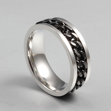 fashion spinner chain ring for men gold black silver stainless steel chain wholesale mens jewelry