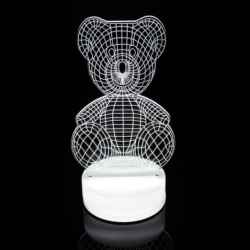 Atmosphere Lighting 3D LED Lamp Night Light Bear Lights 3D Abajur Teddy Miniature Table LighT Led Bulb Lampada Free shipping(China (Mainland))