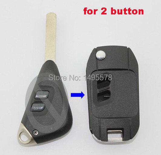 Remote Case Fob Housing 2 buttons Modified Flip Folding Car Key Blank Shell For Subaru with free shipping(China (Mainland))