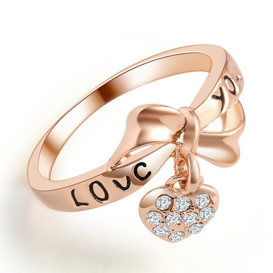 2015 Cheap Price New Style Rose Gold The New Heart of Love Peach Bow Ring(China (Mainland))