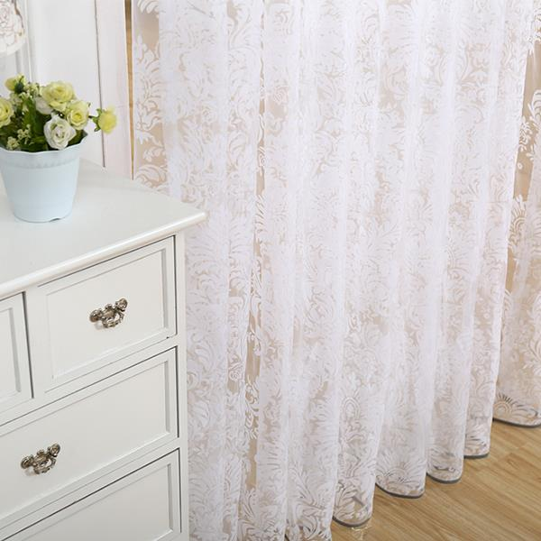 2015 modern cheap flocked tulle for window sheer curtains for kitchen living room the bedroom door blinds curtain fabric(China (Mainland))