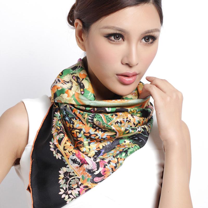 100% Silk Scarf Brand 2015 NEW Summer Style Scarf Silk Women Scarf Big Square Silk Scarves 90*90cm Orange Black Green Grey(China (Mainland))