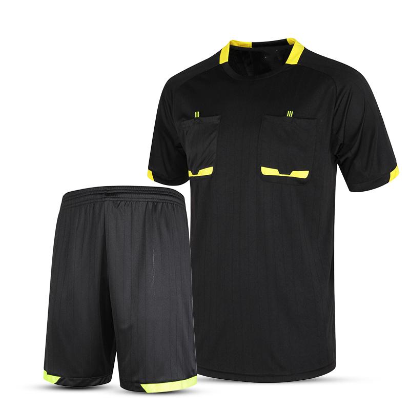 Survetement football 2016 professional mens soccer referee uniform thai referee judge jersey sets pocket shirt soccer tracksuits(China (Mainland))