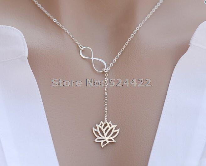Гаджет  Min 1pc Infinity Lotus lariat necklace, lotus flower necklace, cute jewelry for women XL043 None Ювелирные изделия и часы
