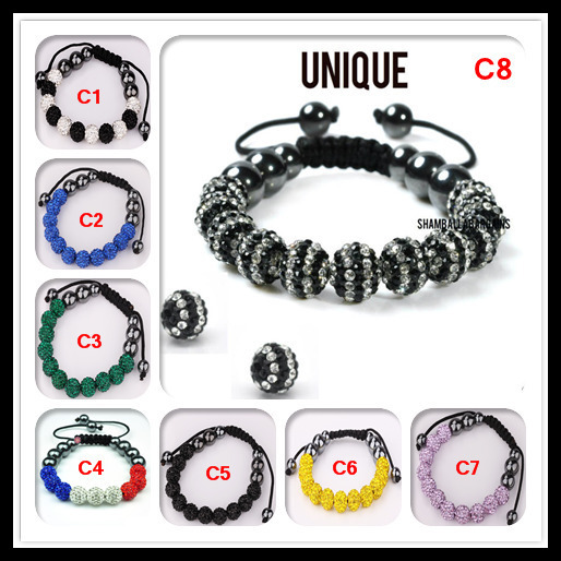 Christmas Shamballa New US FLAG HipHop 11 Balls 10mm Beads Bracelet Hot Gift chain link  bracelets bangles for women and men