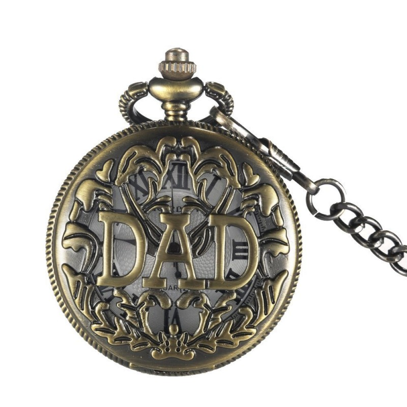 Retro Bronze dad pocket watch necklace FOB Chain Japan movt Relogio De Bolso Vintage Quartz Mens Watches Father's Day Gifts(China (Mainland))