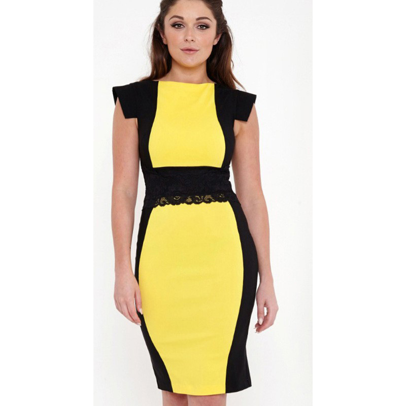2015-new-summer-style-women-bodycon-dress-lady-work-wear-elegant-office-dress-yellow-black-geometric.jpg