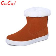 Tamaño 35-40 Rusia Invierno Cálido de Piel Engrosada Mujeres Media Corta Tobillo Plana Botas de Nieve de Algodón Calzado de Invierno de Arranque zapatos(China (Mainland))