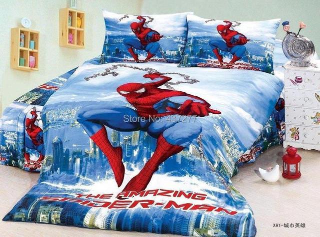 Удивительный человек паук печать 100% хлопок постельного белья для мальчика твин-спальная покрывала с листа пододеяльник утешитель