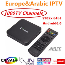 Buy IPROTV 1 Year Europe French Arabic Italy IPTV 1000 TV Channels Canal plus TX3 pro TV Box Quad Core S905X Android 6.0 for $74.90 in AliExpress store