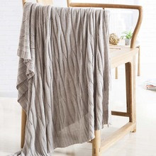 bamboo fiber Knitted blanket high quality 120*180cm knitted throw solid free shipping pink gray green full queen size(China (Mainland))
