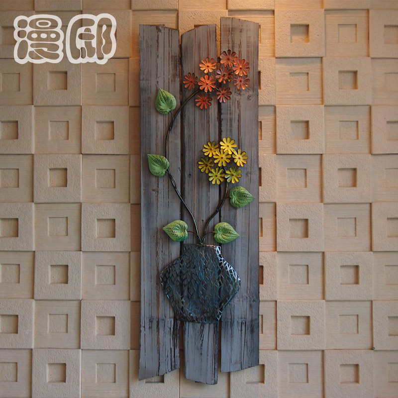 Man Di European simple retro wood wrought iron wall mural wall ornament backdrop creative jewelry ornaments(China (Mainland))