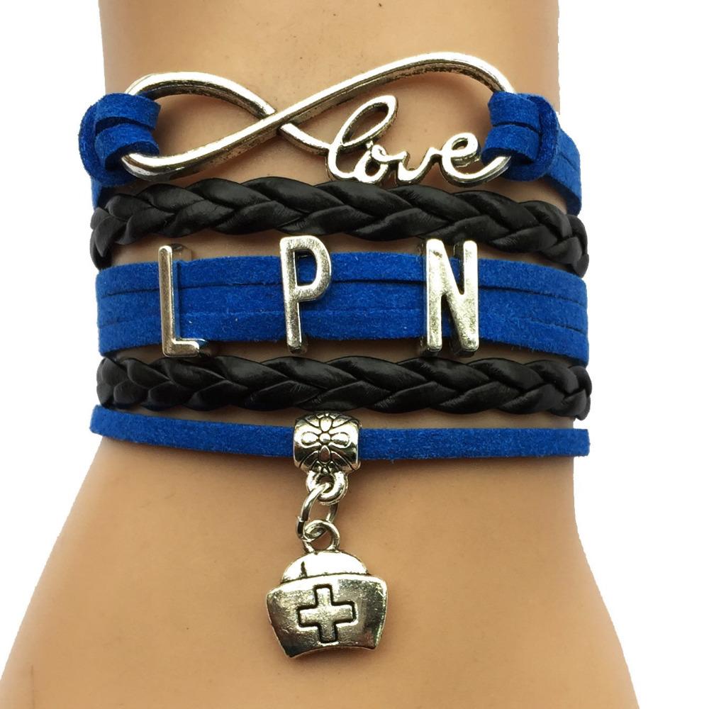 Drop Shipping Infinity Love LPN Bracelet Nurse Charm Job Career Blue with Black Custom Leather Wrapped Bracelet Bangle(China (Mainland))