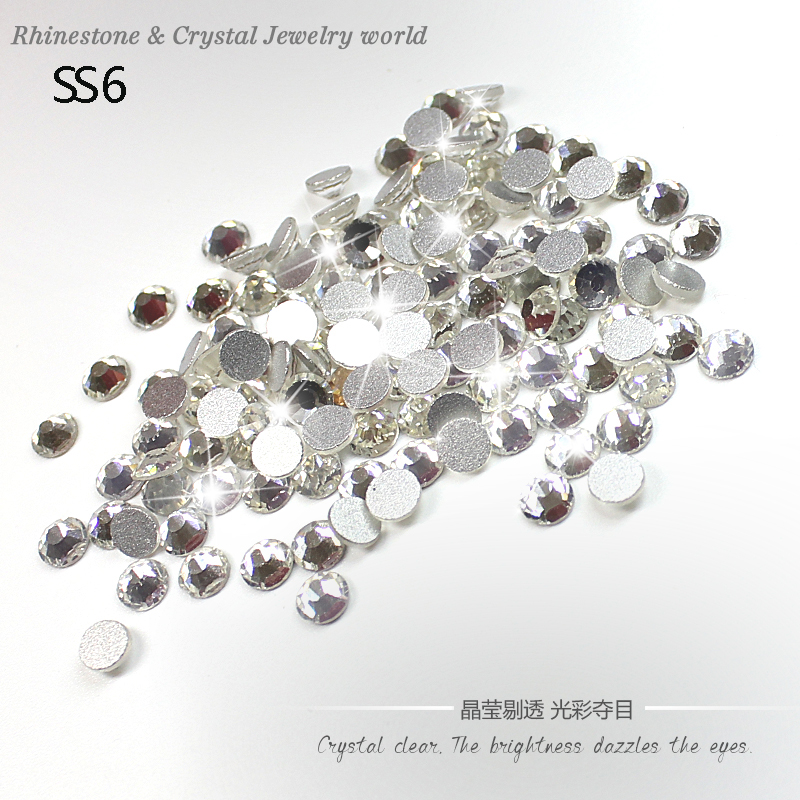 Discount promotion 1440pcs SS6(1.9-2.1mm) 3D non-hotfix rhinestones Crystal Clear glue on flatback crystal rhinestone for beauty(China (Mainland))