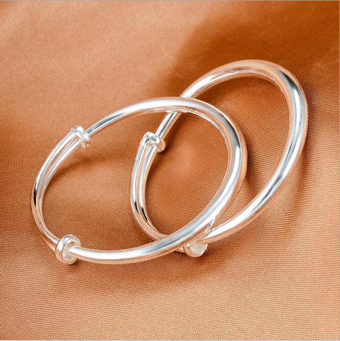 100% Genuine S999 Sterling Silver Baby Bangle Bracelet One Pair Children Silver Adjustable Bangle Bracelets or Child Baby Gift(China (Mainland))