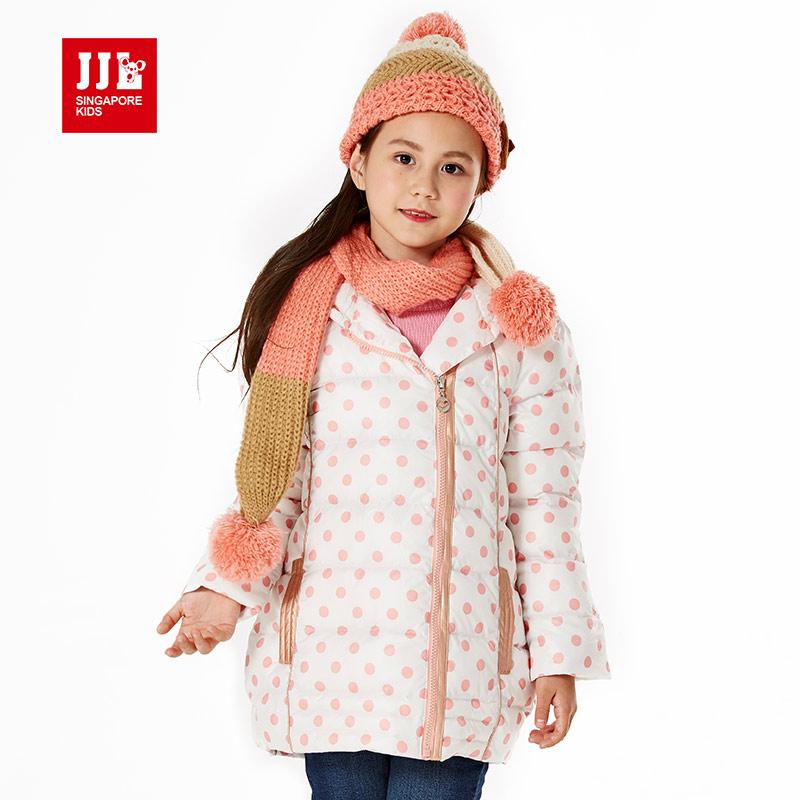 girls winter coat children polka dot hooded long jacket outwear kids girls warm clothing children fashion cotton-padded 2015 new