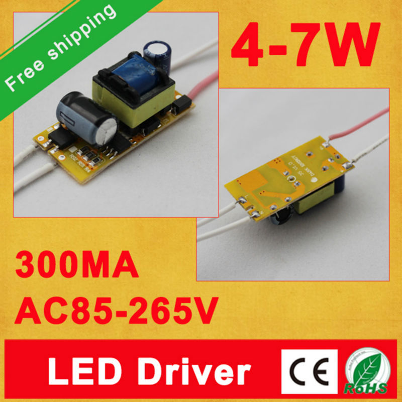 Free shipping 300Ma (4-7)x 1W Led Driver 4W 5W 6W 7W Lamp Light Driver Power Supply Lighting Transformer for E27/E14 LED lights(China (Mainland))