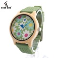 BOBO BIRD B04 Bamboo Wood Watches for Women Soft Green Silicone Band Flowers Cloth Dial Casual