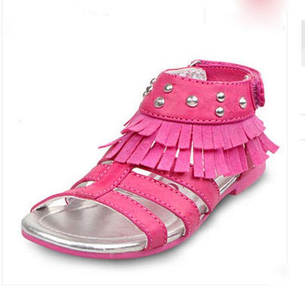 Бесплатная доставка девушки лето заклепки свободного покроя туфли принцессы выросли красный / зеленый открытым носком на липучке пляж пространство кожаные сандалии sandalia s2618
