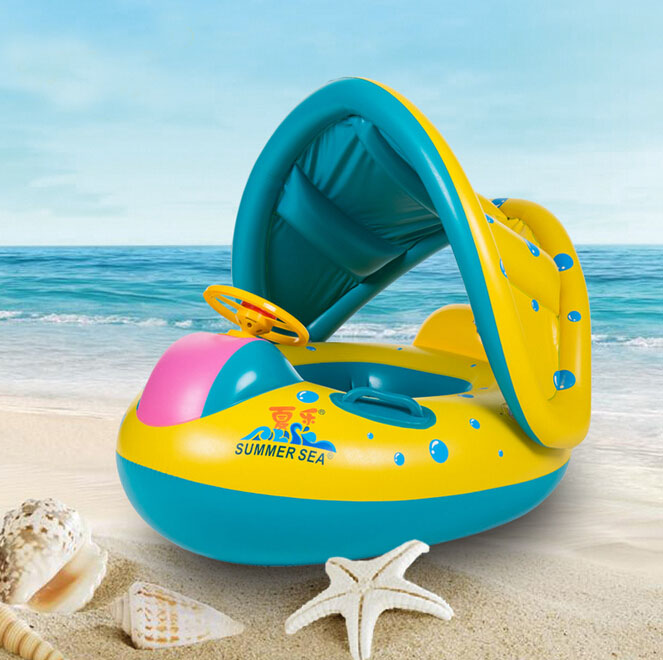 2016 High Quality Safe Cartoon Baby Swimming Seat Ring Kids Inflatable boat Style Pool Float Boat Children Swim Ring(China (Mainland))