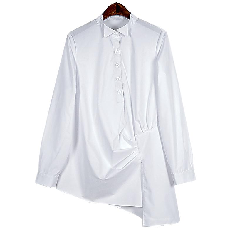 White Cotton Blouses Plus Size 45