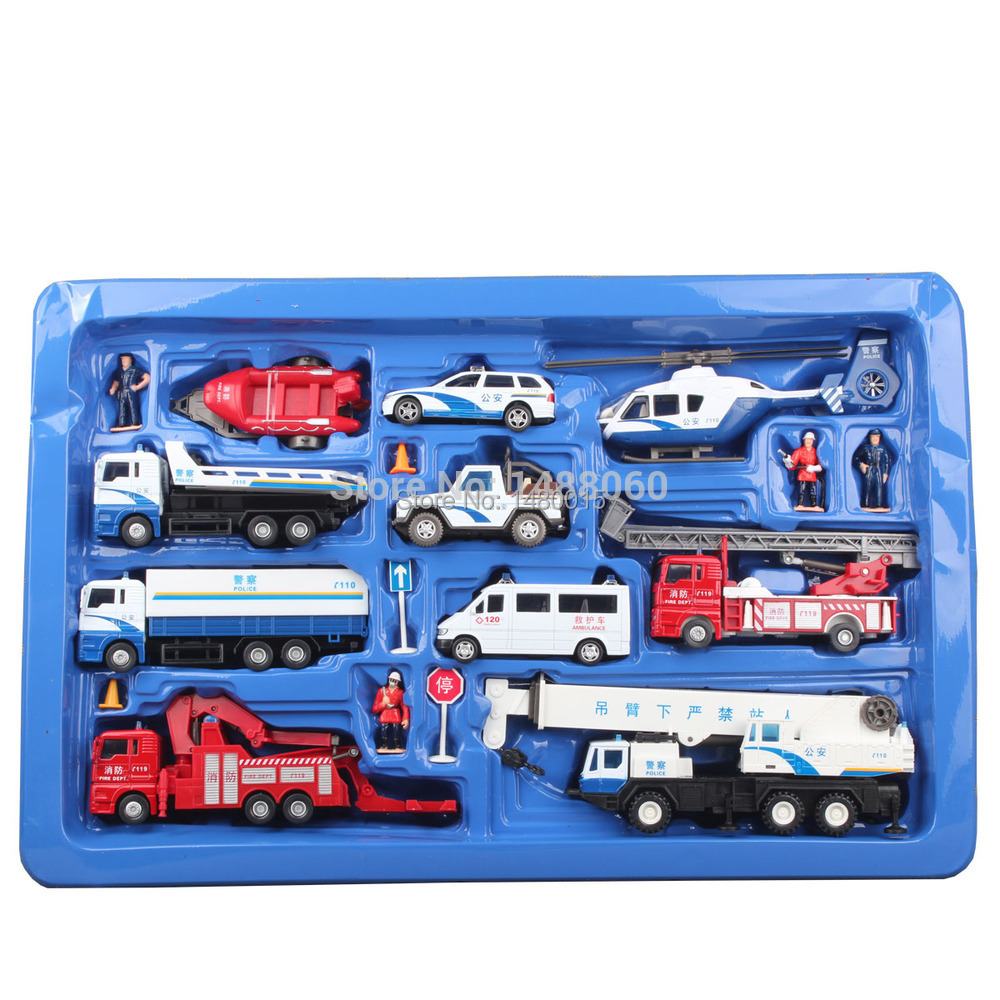 Free shipping!!!car model set,fire truck,police car, crane,ambulance,alloy model cars(China (Mainland))