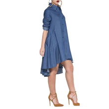 Elegant Casual Style Women Loose Dress 2016 Fashion Turn Down Neck Long Sleeve Denim Jeans Lady Shirt Dresses