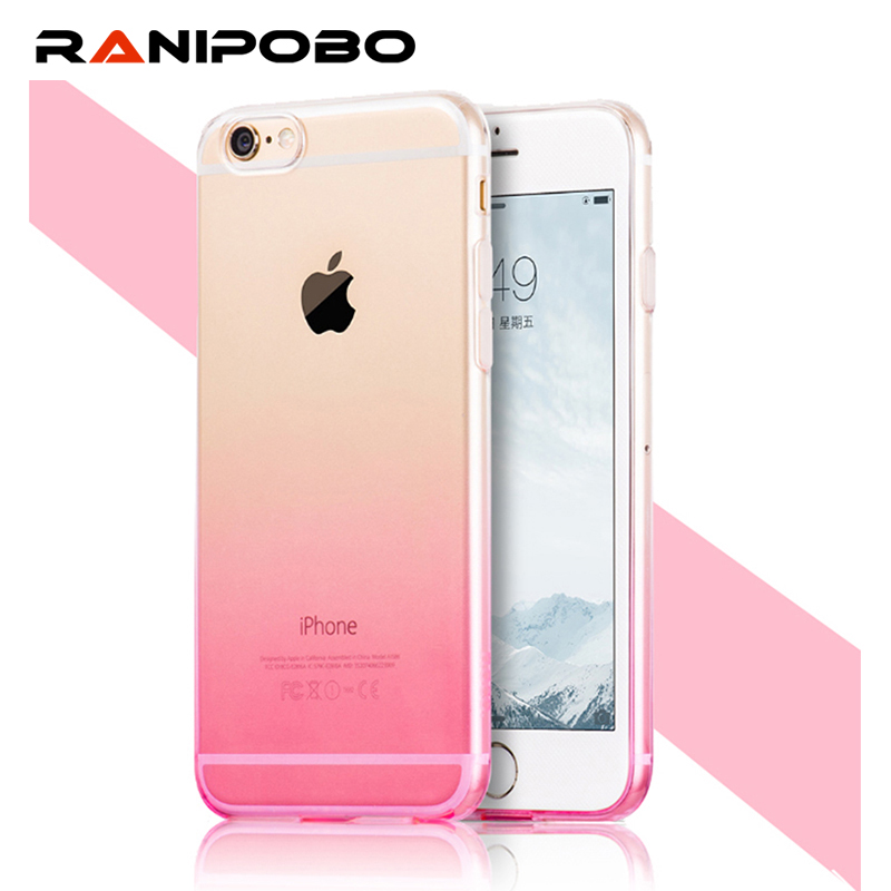6 S 6S Soft Case For iPhone 6 6s Plus Coque Ultra-thin Half Transparent Gradual Change Hybrid Back Cover For iPhone6 6S Plus(China (Mainland))