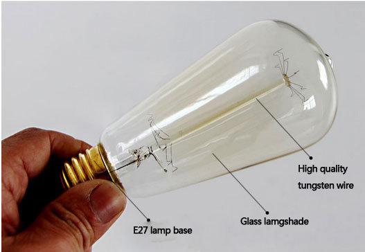 1pc Edison Lamp Antique Retro Vintage 40W 220V 110v Edison Light Bulb E27 Incandescent Bulbs ST64 warm white free shipping(China (Mainland))