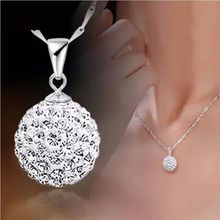 Fashion Women's 925 Sterling Silver chain crystal rhinestone Necklace Pendant(China (Mainland))