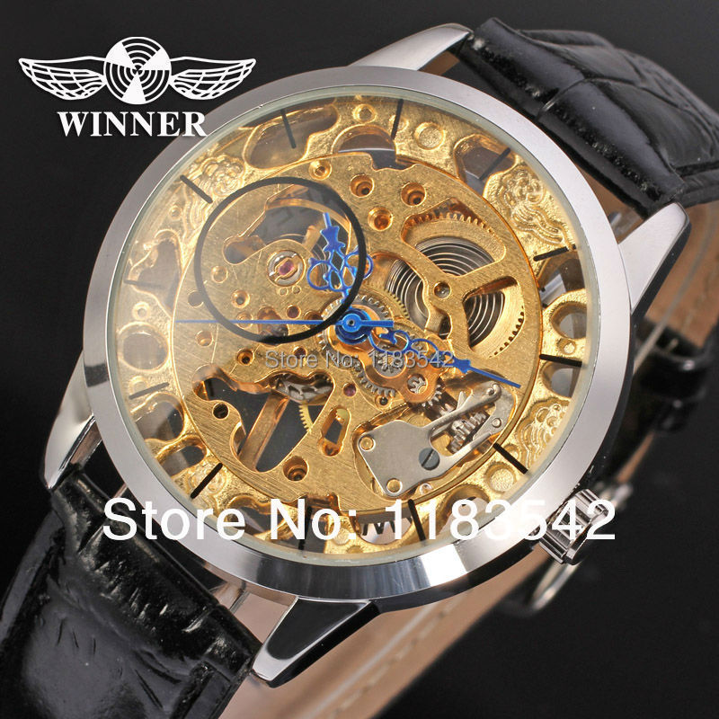 2014  Winner new  Mechanical men silver color skeleton watch black leather strap shipping  free<br><br>Aliexpress