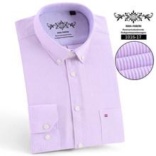 Мужские рубашки высокого качества, приталенные, с длинным рукавом, мужские, оксфорды, Повседневная рубашка, удобная клетчатая рубашка, брен...(China)
