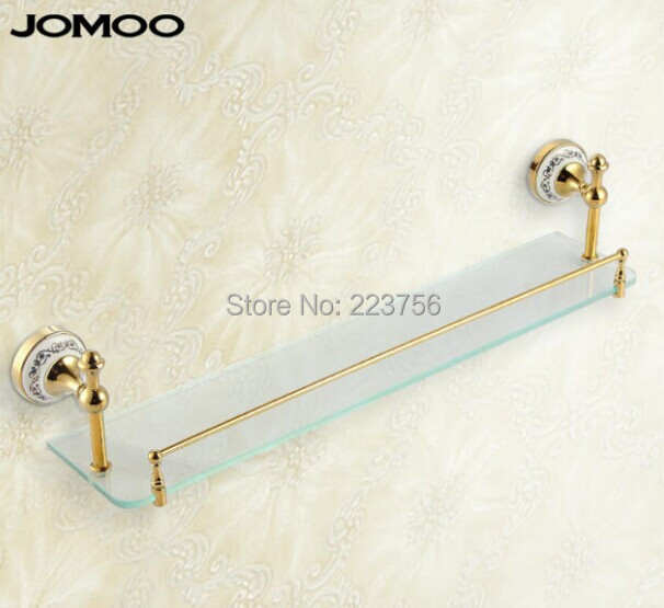 Fashion copper gold glass dressing table single layer belt towel bar glass rack antique glove shelf(China (Mainland))