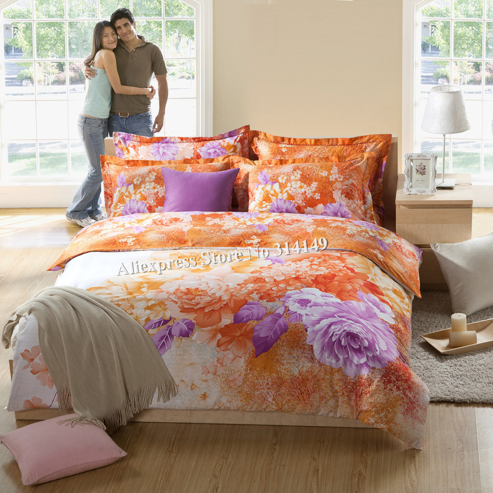 Orange purple flower floral printed home textile bedding - Orange and purple bedding ...