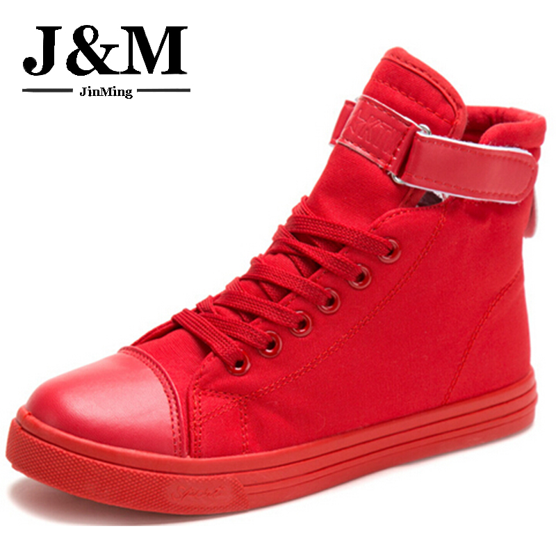 Autumn Casual Women 2016 Lace White Shoes Fashion Red Ladies high-top Canvas Woman Flats  -  KIMING Store store