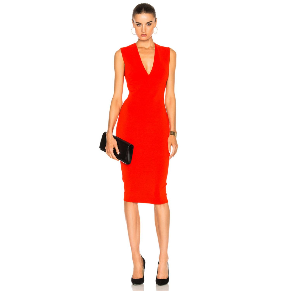 2017 summer Matte Jersey Sleeveless V Neck Fitted Dress women business Sheath dress Women in the workplace occupational clothing(China (Mainland))