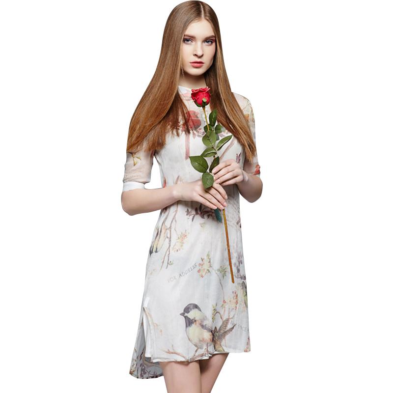 Silk Print Summer Dress 2016 Women Europe Style Stand Collar Half Sleeve Casual Midi Dresses Vestidos De Festa 2214