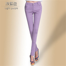 Drop Ship Colored Stretch Fashion Female Candy Colored Pencil Women's Pants Sexy Elastic Cotton Jeans Pants Denim Trousers(China (Mainland))
