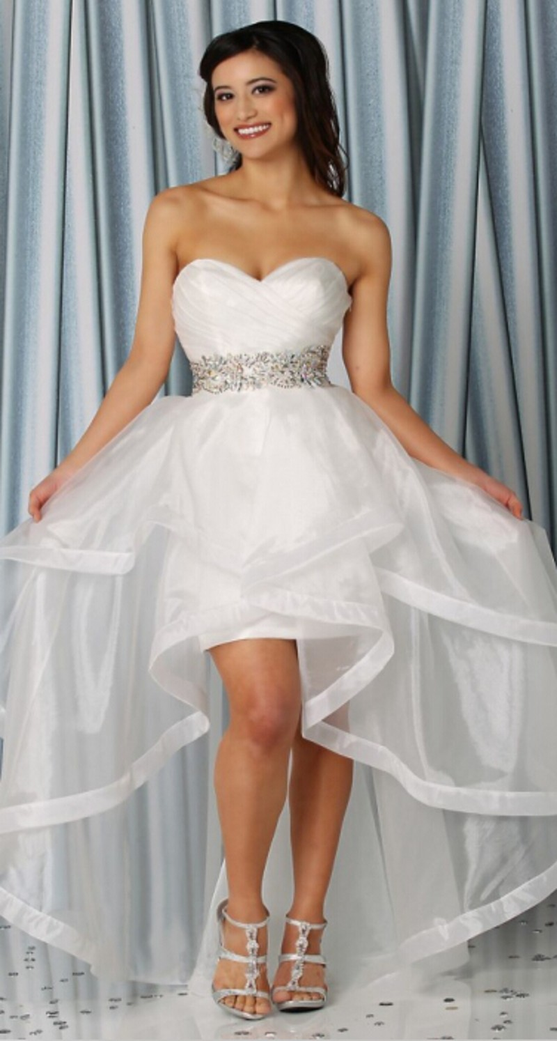 Sexy sweetheart wedding dress short front long back see for Sexy high low wedding dresses