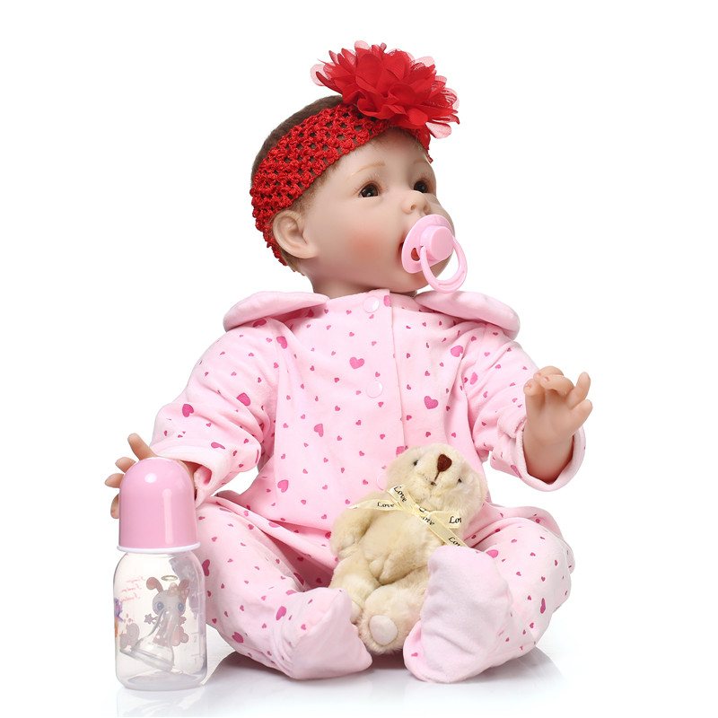 Merry Christmas Gift 22 inch 55cm Reborn-Dolls-Babies With Head Flower The Most Fashion Baby Doll Toys As Gift For Little Girl(China (Mainland))