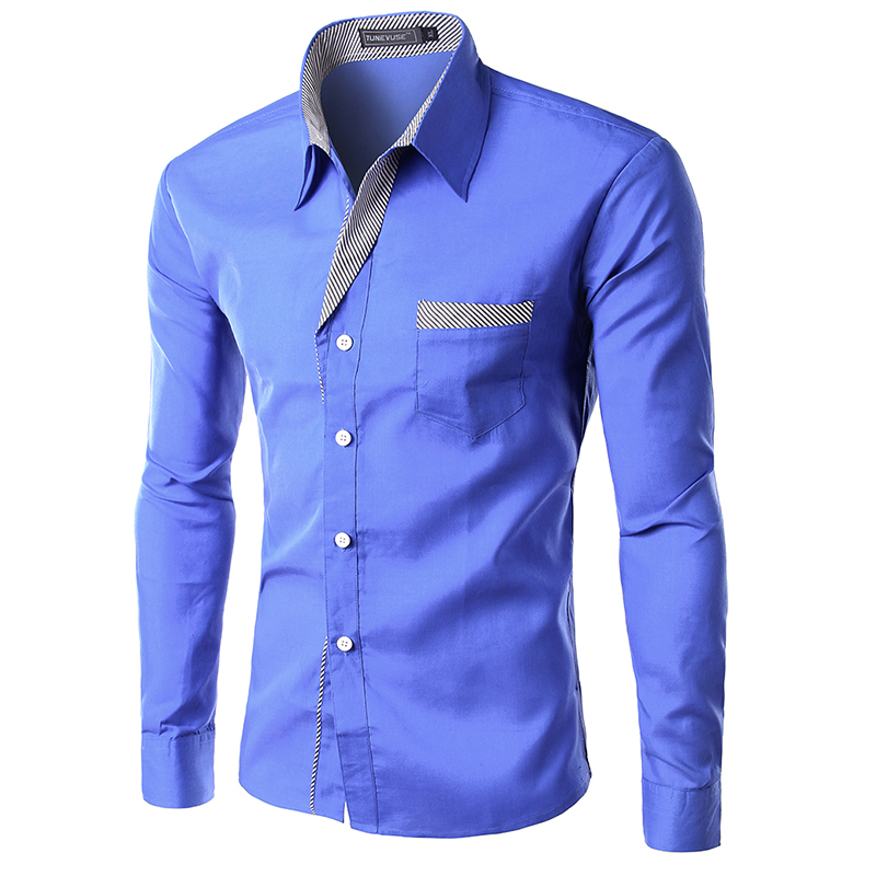 2014 new dress fashion quality long sleeve shirt men