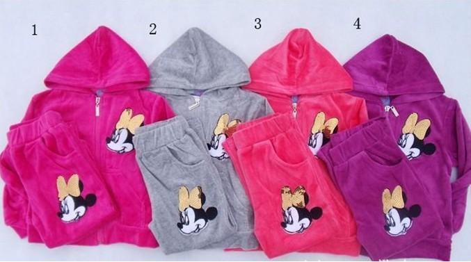 RC0054 Free shipping top quality girls velvet clothes set cartoon boy/girl sweat suit children 2 pcs sport suits retail(China (Mainland))