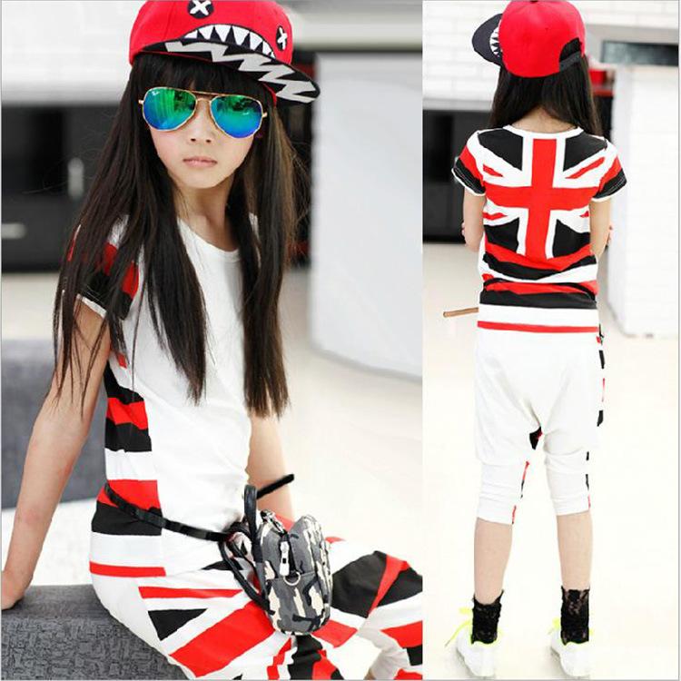 Girls Children's Wear Summer New Suit Pants Union Jack Stretch Short Sleeve T-shirt + Harlan Kids Clothing Sets(China (Mainland))