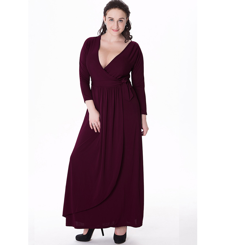 Women Evening v-Neck Knitted Long Dresses Plus Size 2016 Autumn Winter New Lady Black 3/4 Sleeve Party Maxi Dress Vestidos(China (Mainland))