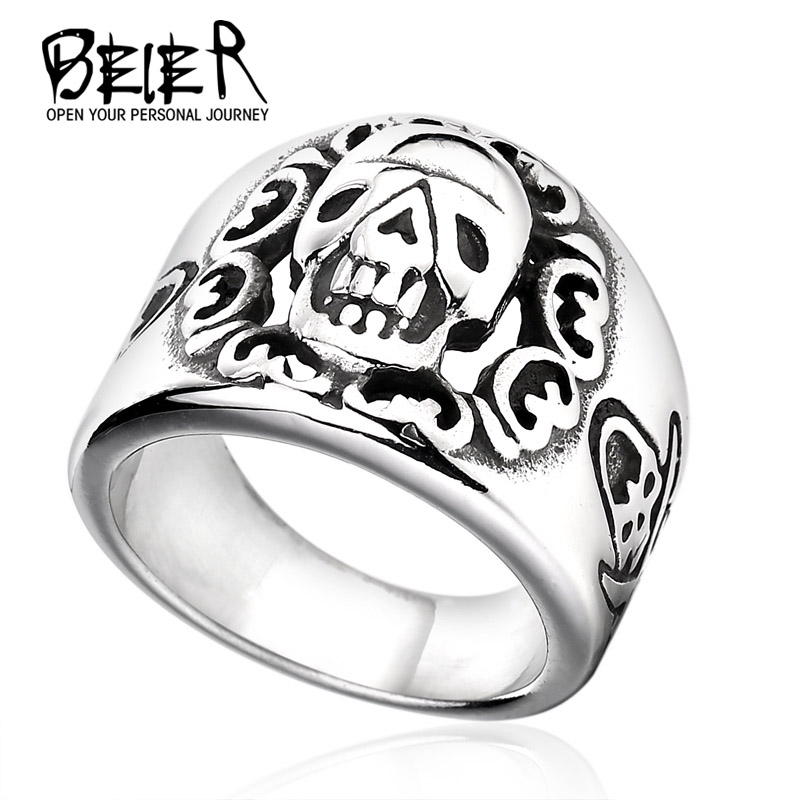 2017 NEW Man Punk Fang Skull Ring Factory Price 316L Stainless Titanium Steel Man's Fashion New Skull Jewelry BR-Q014(China (Mainland))