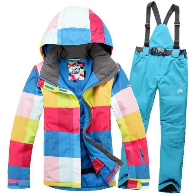 Горячая! хорошее качество дешевых женщин лыжный костюм установлен открытый спортивной одежды зима лыжи сноуборд костюм водонепроницаемый для женщин