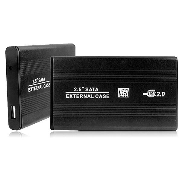 Black Portable ATA 2.5 Inch USB 2.0 SATA Hard Disk Drive HDD External Enclosure Case Box freeshipping dropshipping Wholesale(China (Mainland))