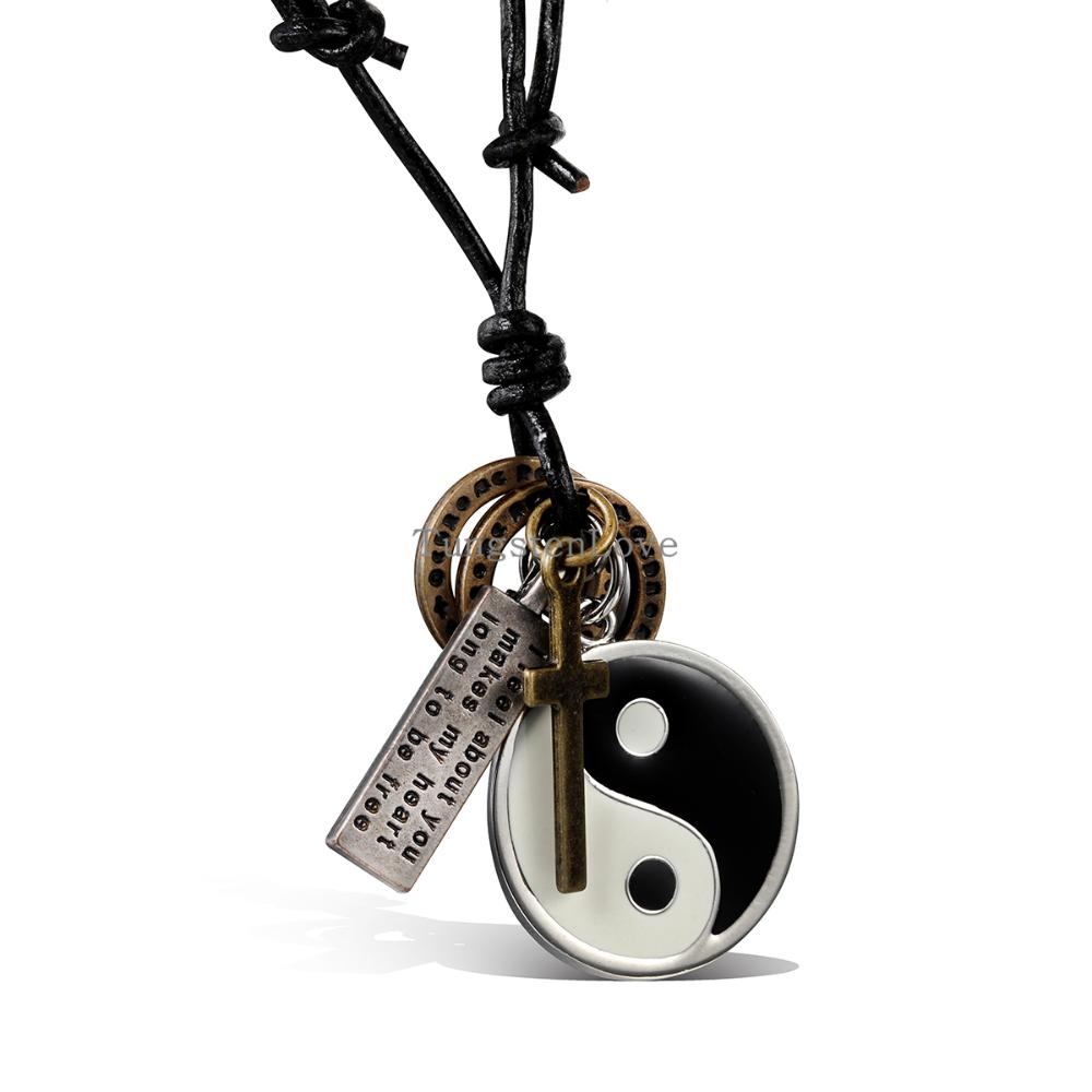 2015 New Vintage Yin Yang Pendant Necklace BaGua Men Brand Novelty Mens Leather Necklace Cheap Men Jewelry(China (Mainland))